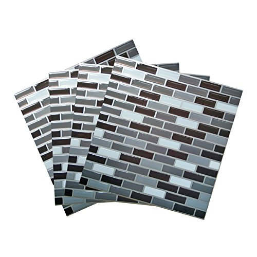 "Wall Sticker & Tile Wall Tile Stickers Peel and Stick Self-Adhesive Wall Tile with Mosaic Effect for Kitcheh Bathroom Backsplash Black Grey White 9"" X 9"" Pack of 2 (4)"