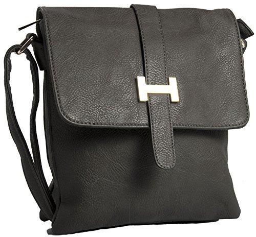 Big Handbag Shop Damen vielen Taschen Messenger Crossbody Schultertasche Dark Grey (ST368)