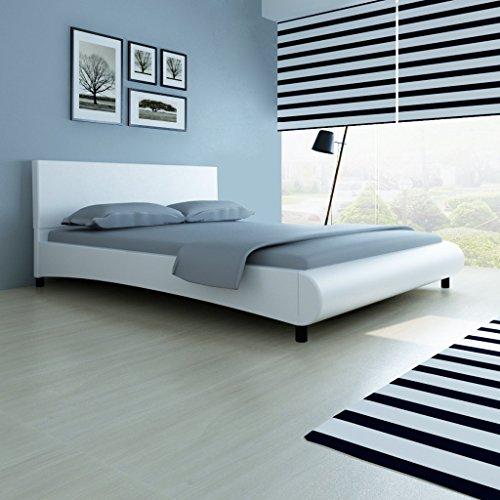 Anself Doppelbett Bett Ehebett Gästebett mit Kunstleder-Bezug 160x200cm ohne Matratze Weiß
