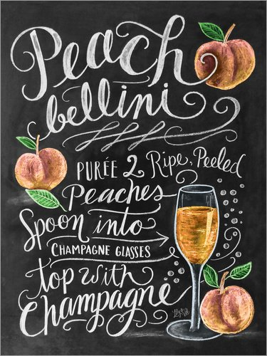 dbild 120 x 160 cm: Peach Bellini Rezept (Englisch) von Lily & Val/MGL Licensing - fertiges Wandbild, Bild auf Keilrahmen, Fertigbild auf echter Leinwand, Leinwanddruck ()