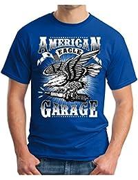 OM3 American-Garage - T-Shirt Eagle Sparks hod Rod Route 66 US Amercian Cars Oldtimer Geek, S - 5XL