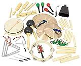 Betzold Instrumente-Rhytmik-Set, 6 tlg, Musikinstrumente, Tamburin, Cymbeln, Triangel, Maracas, Claves, Schellenringe - Musik-Unterricht musikalische Früherziehung Kinder Schule lernen