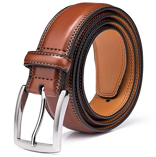 KM Legend Herren Gürtel aus echtem Leder in Premium-Qualität, klassisches und modisches Design für Arbeit und Freizeit - Braun - 44 (Taille: 42)
