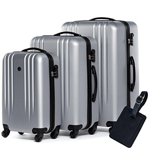 FERGÉ Dreier Kofferset Leder Adressanhänger Marseille Trolley-Koffer leicht Reisekoffer NEU | Set 3-teilig Hartschalenkoffer 4 Komfortrollen (360°) | Koffer...