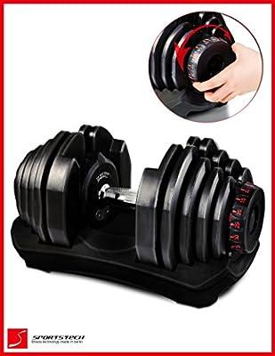 Mancuerna ajustable Sportstech 17en1-Mancuerna con un innovador sistema de clic para 5-40 kg,la AH400 con anillo de agarre de seguridad y mango antideslizante combina 17 mancuernas. Uno o dos conjunto