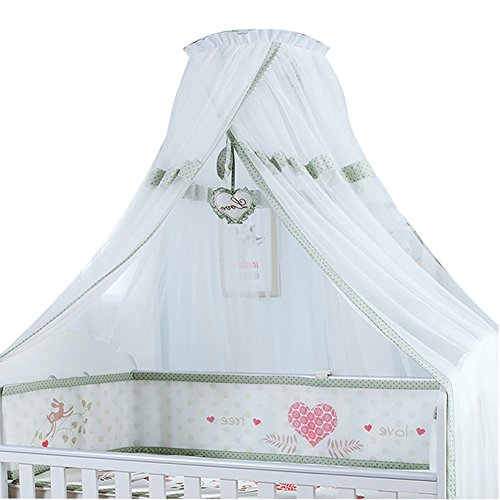 Kids Baby Crib Mosquito Net Bed Canopy Yarn with Round Lace Boys Girls, Clip-On Bed Style, Netting Curtain Bedding Dome Play Tent, HEIGHT ADJUSTABLE, LARGE SIZE, NEW,Green