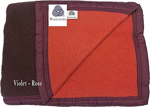 Couverture pure laine vierge 220/240 cm AUBERGINE