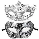 BLEVET 2PCS Couple Masque vénitien Mascarade Masque pour Halloween Costume Party Cosplay Carnaval...