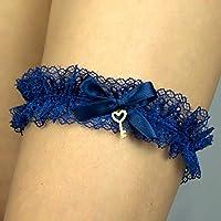 Giarrettiera di pizzo nozze matrimonio sposa biancheria intima regali de nozze blu chiave key Handmade