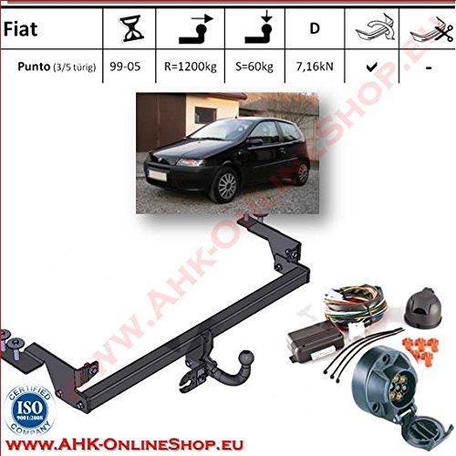 AHK Anhängerkupplung mit Elektrosatz 7 polig für Fiat Punto II 1999- Anhängevorrichtung Hängevorrichtung - starr, mit angeschraubtem Kugelkopf