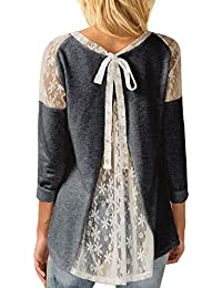 Overdose Women Top Lace Bowknot Patchwork Long Sleeve T-Shirt