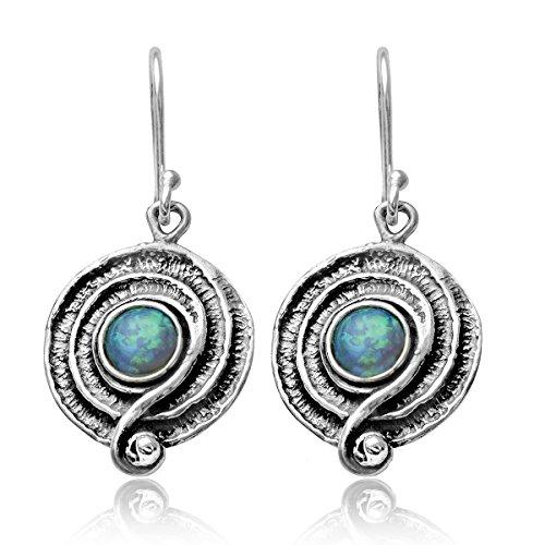 Runde Ohrringe mit blauem Feueropal, 925Sterling-Silber mit Spiral-Design Opale Spiral
