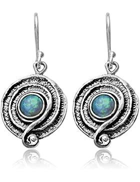 Runde Ohrringe mit blauem Feueropal, 925Sterling-Silber mit Spiral-Design