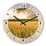 Wanduhr mit Motiv - Getreide - aus Echt-Glas | runde Küchen-Uhr | große Uhr modern
