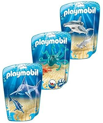 Playmobil Les animaux dans la mer - Marine set 3 pièces composé de: 9065 Hammerhead avec bébé, 9066 Octopus avec bébé et 9068 Espadon avec bébé