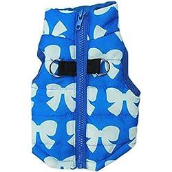 YiJee Lindo Mascota Ropa Perro Acolchado Chaqueta Chaleco Azul 1 L