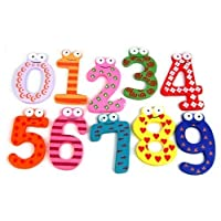 AKORD Funky Fun Colorful Numbers Wooden Fridge Magnets, Wood, Multi-Colour, 6 x 4 x 0.5 cm