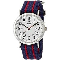 Timex T2N747 Orologio da Polso al Quarzo, Analogico, Unisex, Tessuto, Bianco/Blu - Quadrante Blu Unisex