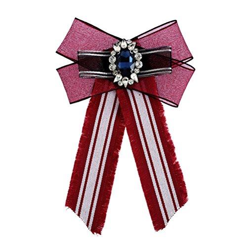 Jelinda Schleife brosche Vintage-Stil Diamant Bogen Brosche Damen Schleifenbrosche mit Strass Exquisite Diamant Brosche Bekleidungszubehör (red) (Red Satin-bogen)