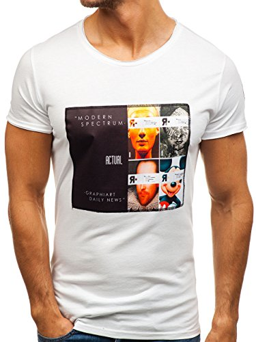 BOLF Herren T-Shirt Tee Kurzarm BLACK ROCK 1029 Weiß L [3C3] |