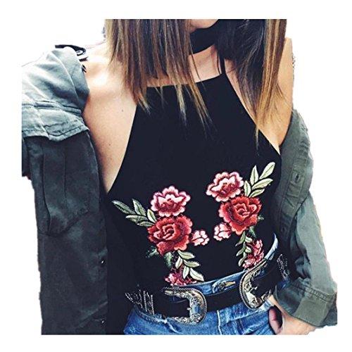 Frauen Sexy Boho Tanks Top, LILICAT Mode Damen Neckholder Top Rose Ärmellos Bralette Bustier Bluse Cami Vest (Schwarz, M) (Shirt Unten Nach Strand-taste)