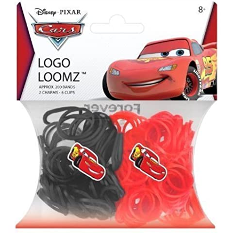 Hit Entertainment Licensed Logo Loomz Filler Loom Bands & 2 Charm Pack - Disney, DC Comics & More! (Disney Cars Lightniing McQueen) by Forever Collectibles