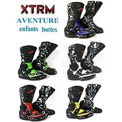 Moto Enfants Bottes XTRM Aventure Bottes d'enfants Moto sur la Route Armure Quad Chaussures de Tourisme Sportif (EU 37 (UK 3), Noir Rouge)