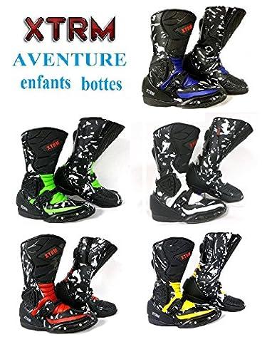 moto enfants bottes XTRM AVENTURE bottes d'enfants moto sur la route armure quad chaussures de tourisme sportif (EU 34 (UK 13), noir / vert)