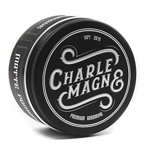 Charlemagne Premium Matte Pomade - Starker Halt - Leather Geruch - Edler Duft - Matt Look Finish für die Haare - Mattes Haar-Wachs für Männer/Herren - 100ML - Hair Cream hergestellt in UK