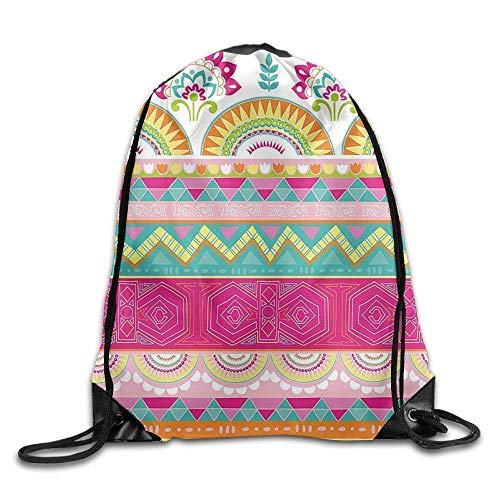 HLKPE Charming Embellished Folkloric Bohemian with Flowers Triangles Artwork Drawstring Gym Sack Sport Bag for Men and Women Off-white Embellished