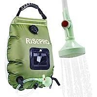 Risepro K8 Bolsa de ducha Solar, 20 litros, de alta calidad, para cámping, agua caliente hasta 45°C, con alcachofa de ducha conectable y manguera extraíble