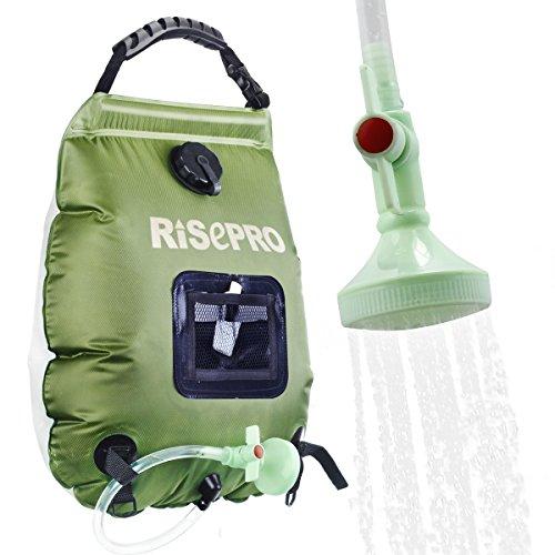 Borsa per doccia solare, Risepro, 20 l, borsa da campeggio per doccia con acqua calda ad una temperatura di 45 C; soffione rimovibile, flessibile, on/off adatto per campeggio,