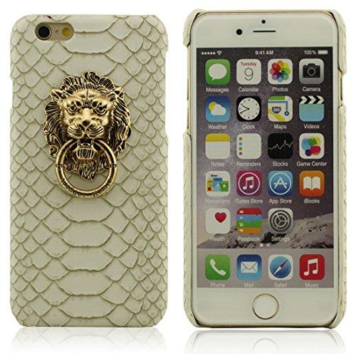 Schutzhülle iPhone 7 Plus Hülle, Metall Löwe Kopf Metall Ring Serie Halter Entwurf Hart Kunststoff Dünn Leicht Handy Tasche Case Cover für Apple iPhone 7 Plus 5.5 inch Weiß