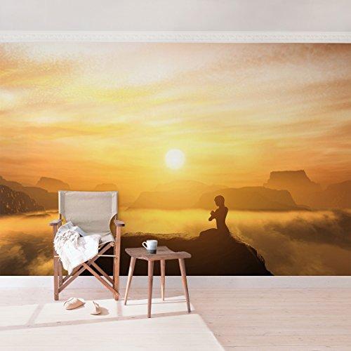 Vliestapete–Yoga Meditation–Wandbild Landschaft Format Tapete Wand Wandbild Foto Funktion 3D Tapete wall-art Tapete Wandmalereien Schlafzimmer Wohnzimmer Dimension HxB: 225cm x 336cm