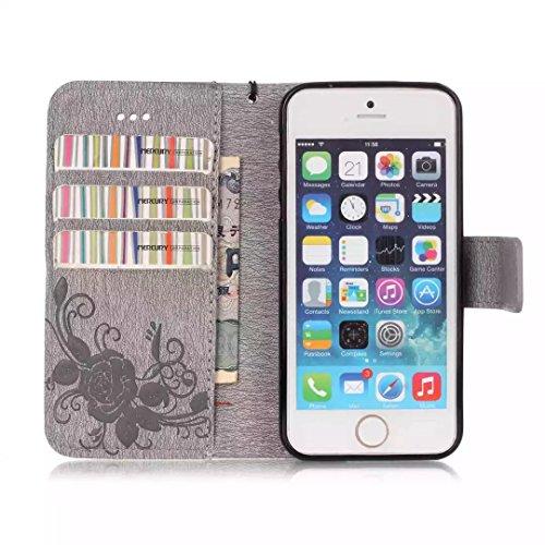 iPhone Case Cover Gemaltes Farbenmuster-Mappenartkasten magnetisches entwerfen Flipfolio PU-Lederabdeckung Standup-Abdeckungsfall für iPhone 5S SE ( Color : Pink , Size : IPhone 5S SE ) Gray