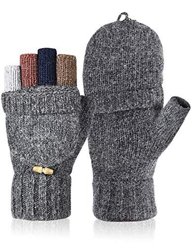Petrunup Winter Knit Fingerlose Handschuhe Damen Wollmischung Warme Handschuhe Damen Halbfinger Damen Grau