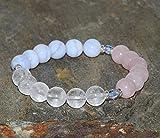 8mm quarzo rosa naturale, quarzo latteo chiaro e blu pizzo agata braccialetto, calcedonio blu bracciale di cristalli Cechi, yoga, gioielli, perline Mala 8mm