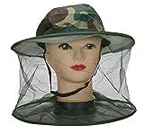Fletion Bienenzucht Hut im Freien Dschungel Tarnung Hut Fischerhut Schal Sonnenschutz Anti-Moskito-Biene Hut mit Netz-Ineinander greifen Bienenzucht Gesichtsmaske Gesichtsschutz