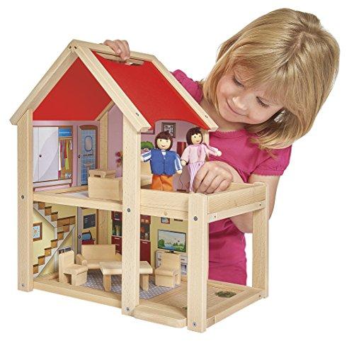 Eichhorn 100002501 - Puppenhaus fertig montiert inklusive Puppen und Möbeln, bunt