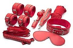 Idea Regalo - Italian Sexy Shop Kit 8 Pezzi con Manette Polsi Caviglie Corda Abbigliamento Donna Maschera (rosso1)