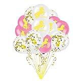 Lavendei Einhorn Party Deko, Einhorn Banner, Pappteller, Pappbecher, Servietten, Geschirr, Einladungen, Tüten, Tischdecke, Luftschlangen, Ballons für Kinder Geburtstag Mottoparty (15 x 12 Zoll Luftballons)