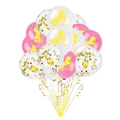 (Lavendei Einhorn Party Deko, Einhorn Banner, Pappteller, Pappbecher, Servietten, Geschirr, Einladungen, Tüten, Tischdecke, Luftschlangen, Ballons für Kinder Geburtstag Mottoparty (15 x 12 Zoll Luftballons))
