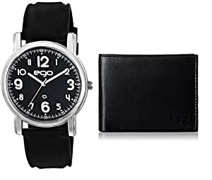 Ego by Maxima Analog Black Dial Men's Watch with Wallet and a Greeting Card Combo - (E-01093COMBO)