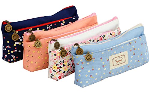 Ipow Set of 4 Pastorable Flower Floral Canvas Double Zipper Large Make Up Cosmetic Pen Pencil Stationery Storage Pouch Bag Case Test