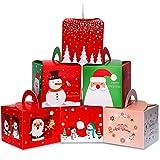30 Stück Weihnachten Bonbon Boxen Papier Geschenk Boxen mit Weihnachtselementen Mustern für Xmas Party Supplies, 6 Stile