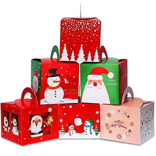 30 Pieces Christmas Candy Boxes Paper Gift Boxes with Christmas Elements Patterns for Xmas Party Supplies, 6 Styles