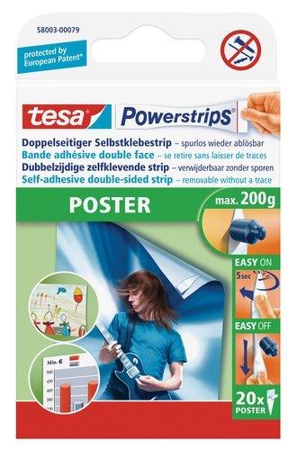 tesa Powerstrips Poster-Klebestreifen, max. 200 g, spurlos wieder ablösbar (4 Packungen = 80...