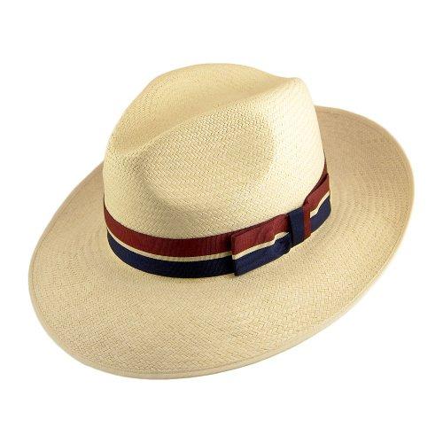 Olney Hats - Sombrero Panamá - para mujer Dunkelrot   Marine-Band 56 cm 5921e05fca1