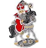 Fensterbild Plauener Spitze 15x24 cm + Saugnapf Weihnachten Nikolaus Pferd Sterne Spitzenbild Advent