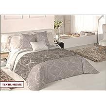 Textilhome - Funda Nórdica REMY- Cama 150 - 240x260cm . Color Beige + 2 Fundas Cojín 60X60cm.